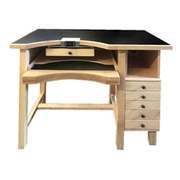 Work bench for goldsmiths in solid beech with gray anthracite table top, 8 drawers