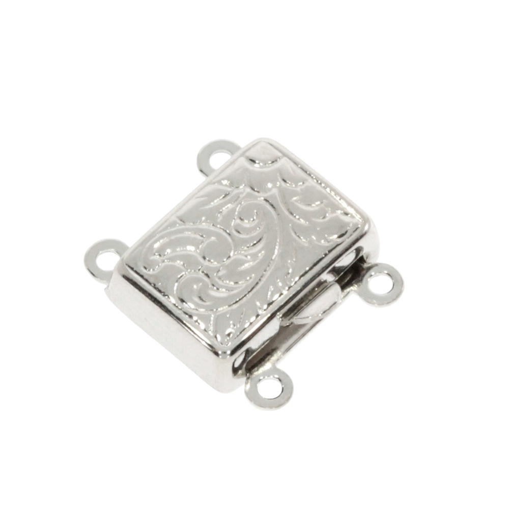 Square-shaped clasp with antique pattern 925/-, 2 chain rows