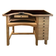 Work bench for goldsmiths in solid beech with gray anthracite table top, 5 drawers