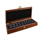 Ring gauge set in a wooden box, half round on the inside (36 pcs.)