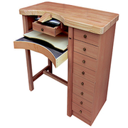 Work bench for goldsmiths with solid beech worktop