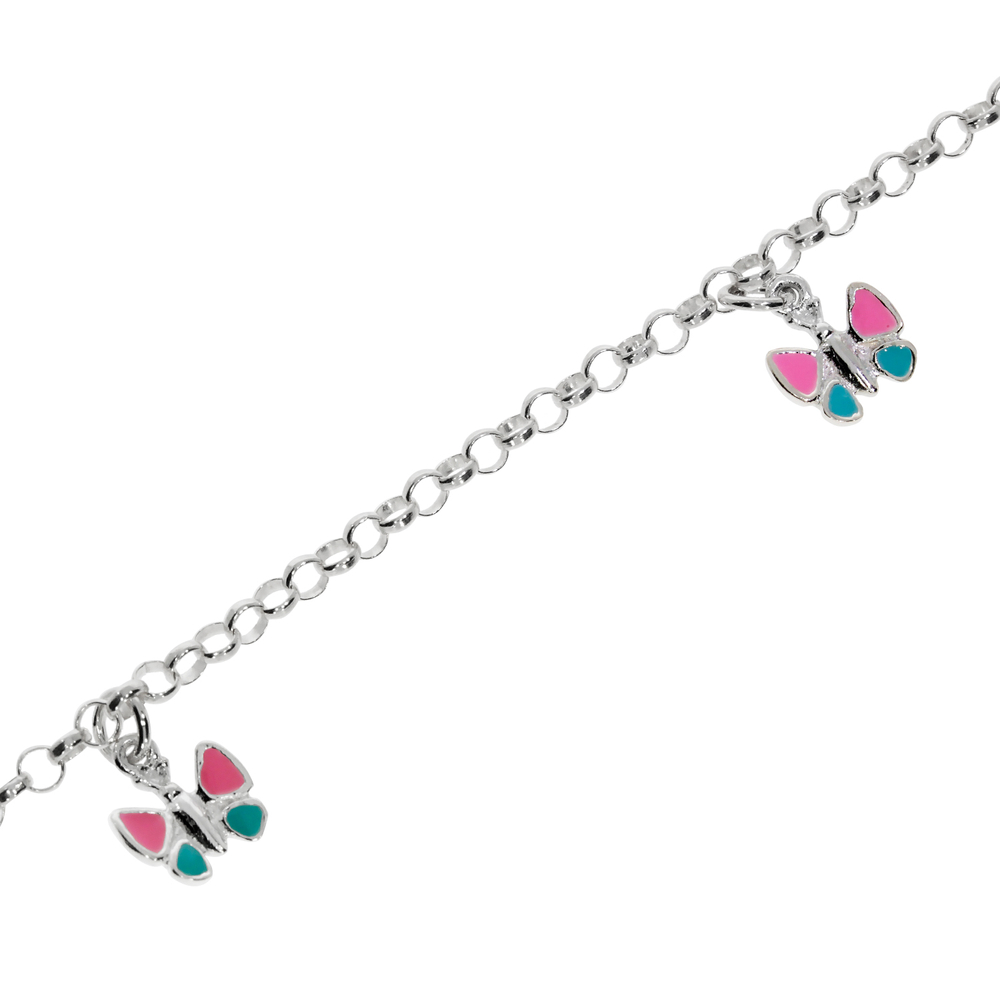 Bracelet belcher pink and turquoise butterfly 925/-