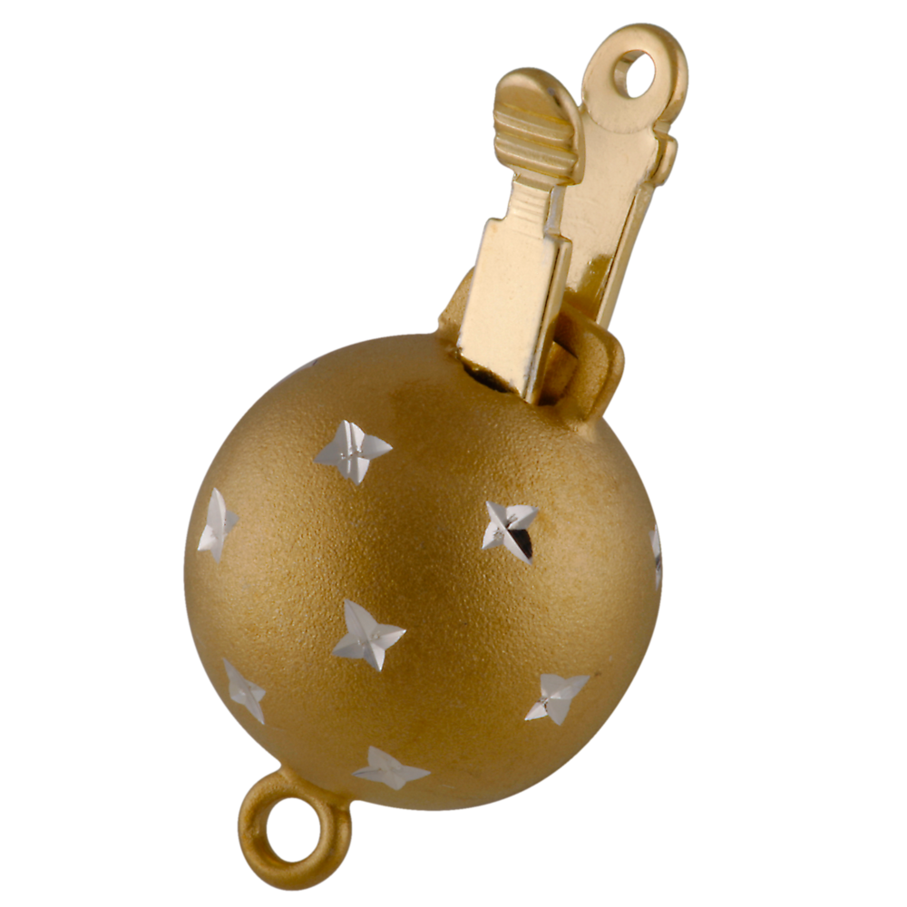 Matt ball clasp decorated with stars 925/- gold-plated