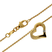Necklace trace with heart-shaped pendant 585/- yellow gold
