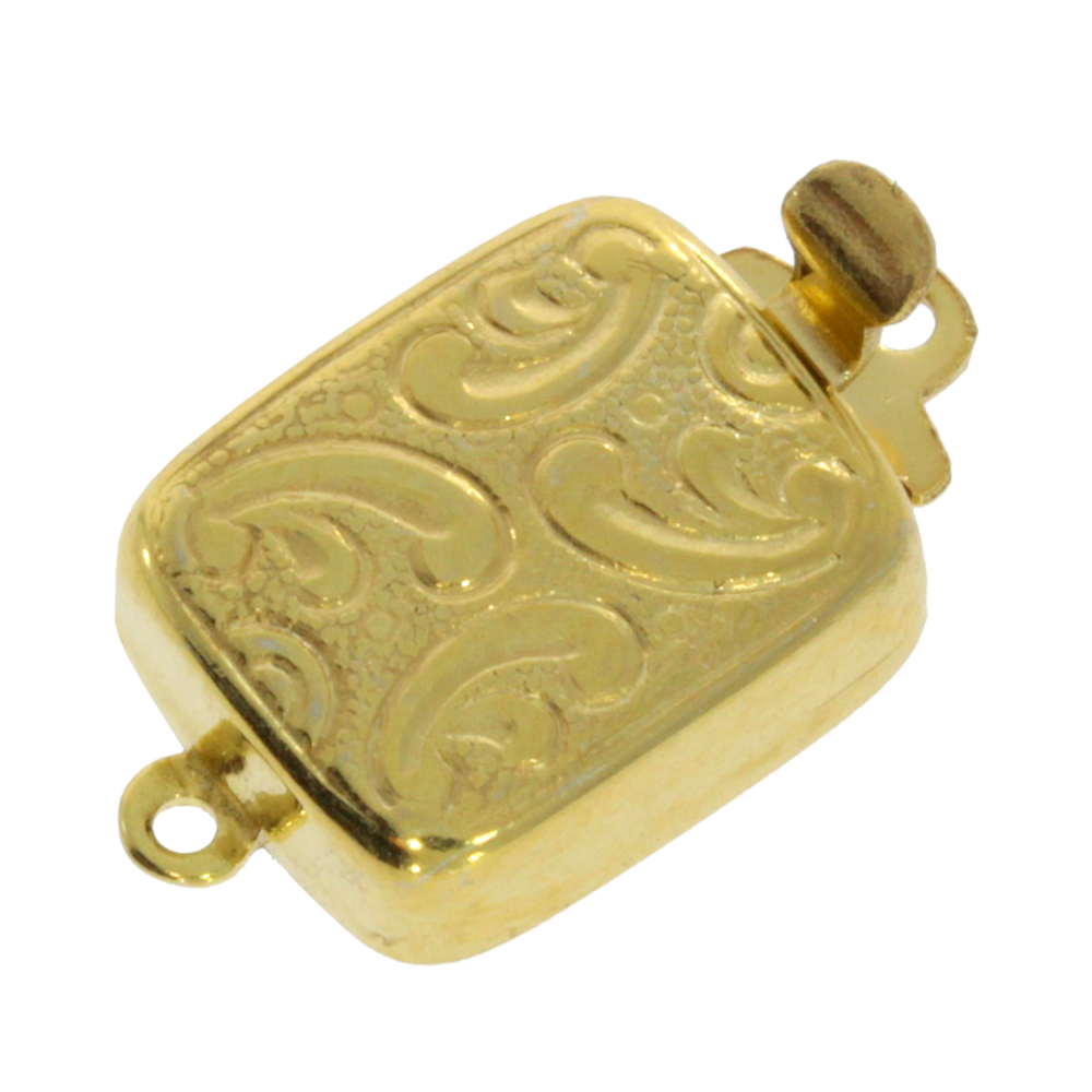 Square-shaped clasp with antique pattern 925/- gold-plated