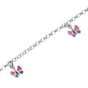 Armbånd ærte med pink og lilla sommerfugle 925/-