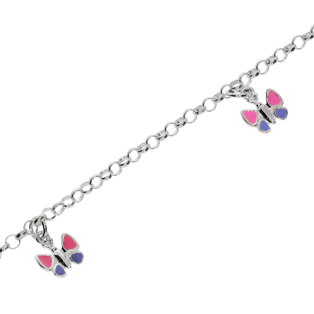 Bracelet belcher with pink and purple butterfly 925/-
