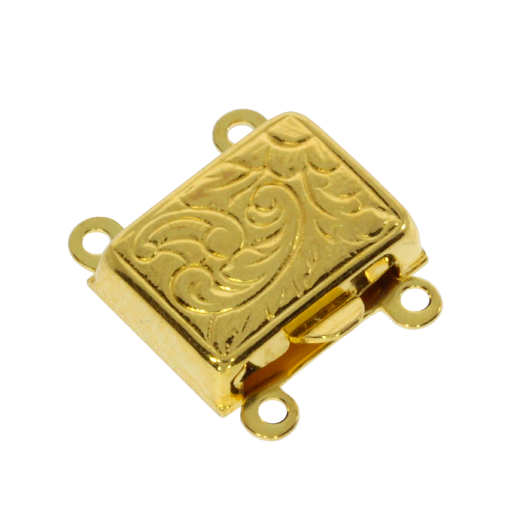 Square-shaped clasp 925/- gold-plated, 2 chain rows